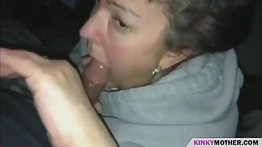 getting a blowjob by a horny mother
