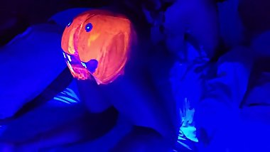 Jack O Lantern black light paint looks like eating pussy