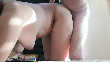Happy BBW MILF hardfucked doggystyle, PAWG mom floppy tits